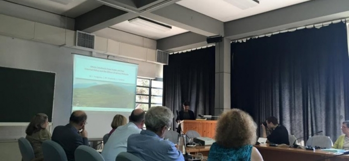 Laura Surtees presenting: Ethnic constructs from inside and out: external policy and the ethnos of Achaia Phthiotis, May 24th 2015 at the Cultural Centre at Delphi. (Photo: Gino Canlas)