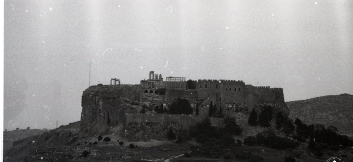 """86-21-001 Lindos, the acropolis, telephoto view from """"Tomb of Kleoboulos"""""""