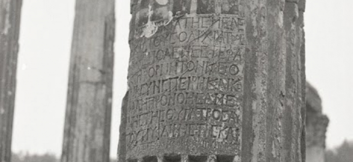 Standing column with a dedicatory inscription panel from the Temple of Zeus at Euromos. (Professor Fred Winter, 1988)