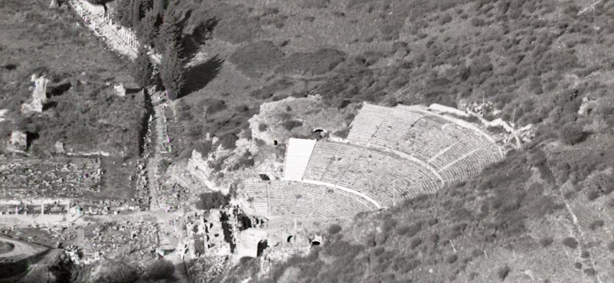 The theatre at Ephesos, photographed from the modern Bulbul Dagi. (Professor Fred Winter, 1987)