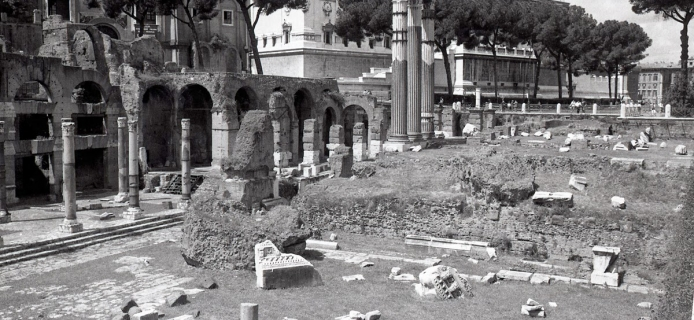 A view of the podium of Venus Genetrix and some re-erected columns in the Forum Julium at Rome. (Professor Fred Winter, 1988)