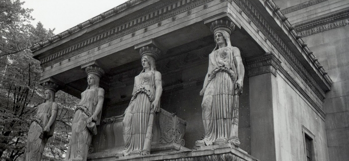 "The Karyatid porch of ""St. Pancras-in-the-Erechtheion"" in London. (Professor Fred Winter, 1988)"