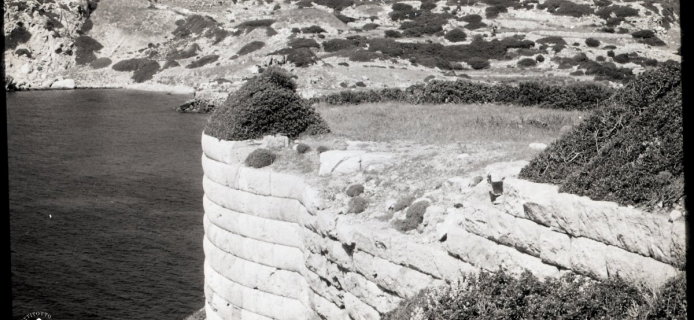 93-B-003 Assos, photo of exterior of U-shaped tower in N. wall
